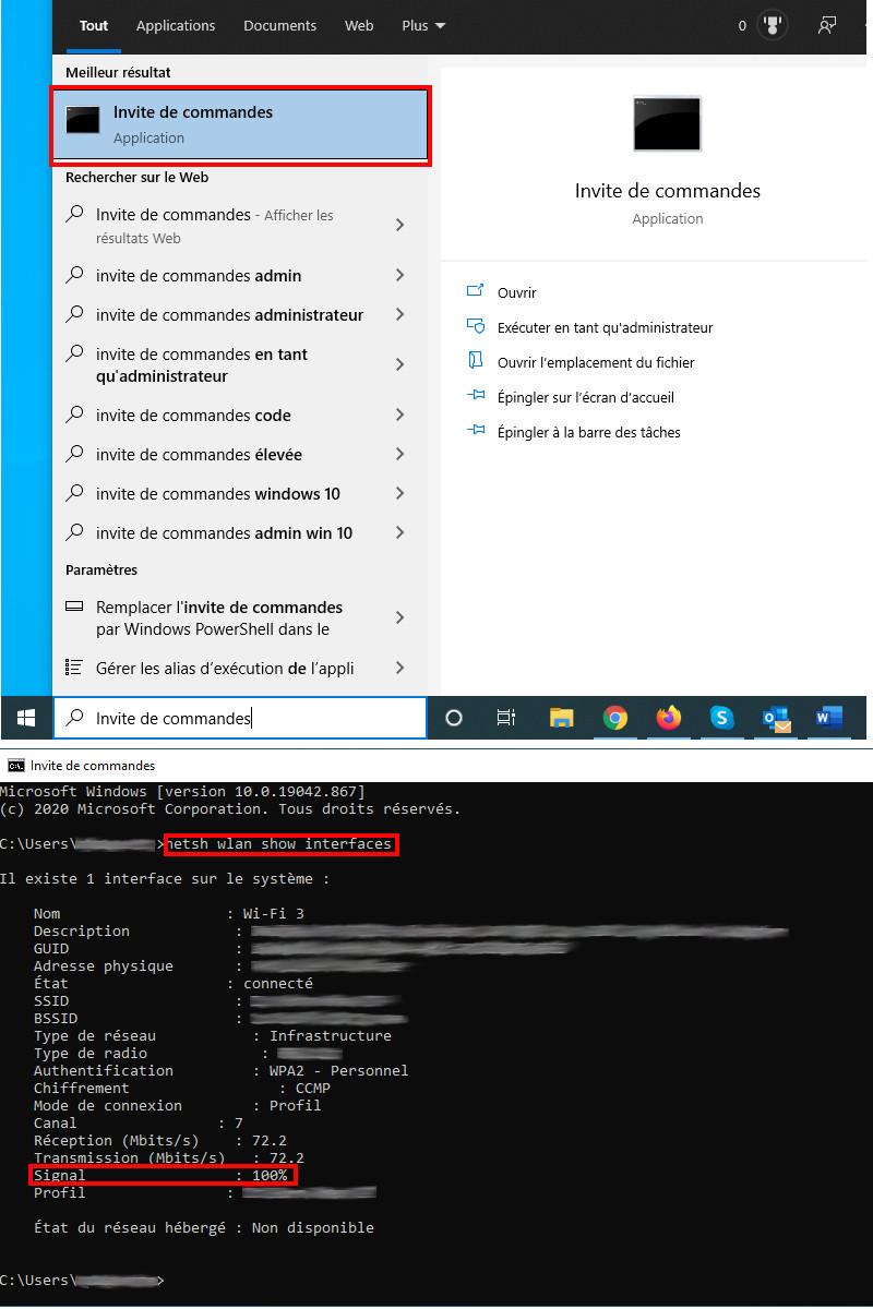 Vérifier force signal wifi Invite de commandes