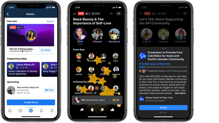 facebook lance live audio rooms comme clubhouse