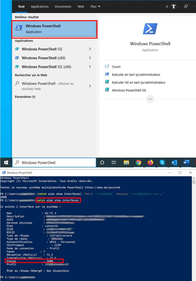Vérifier force signal internet Wifi Windows PowerShell