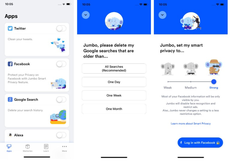 Jumbo Application iOS interface Facebook Twitter Google vie privée