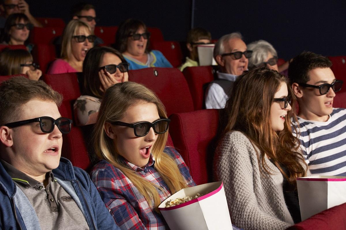 Une projection 3D dans un cinéma.