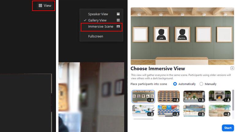 aperçu comment activer vue immersive Zoom