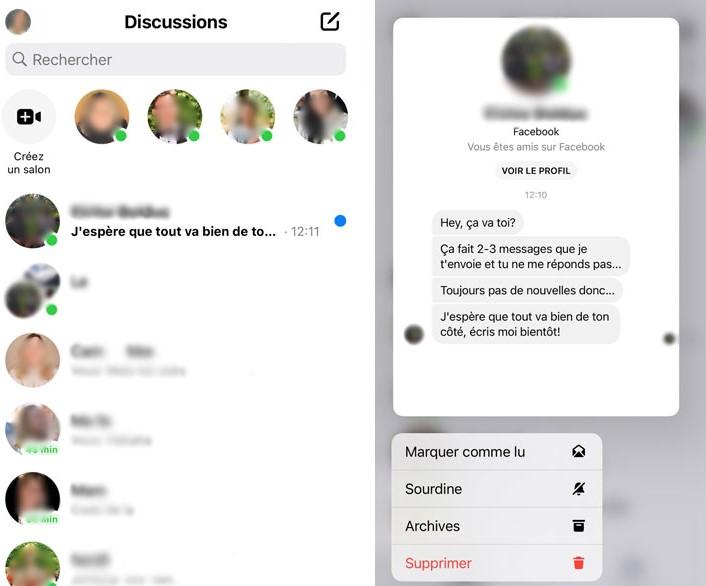 Un aperçu de l'option prévisualisation d'un message disponible sur l'application Facebook Messenger seulement pour iPhone ou iPad