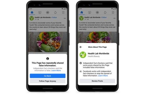 lutte désinformation facebook notification avertissement pages groupes