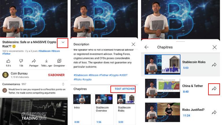 aperçu comment partager chapitre vidéo youtube android
