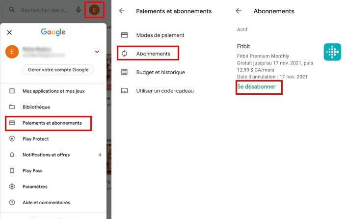 comment voir annuler abonnements applications android play store cellulaire tablette