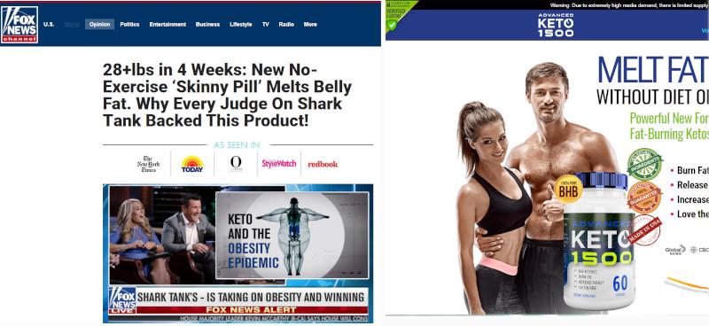 Faux sit Fox News publicité pilules Keto amincissantes Facebook
