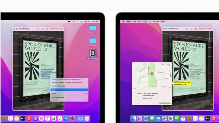 Live text mise à jour macOS Monterey