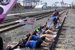 Des travailleurs de la santé bloquent l'accès au Port de Montréal