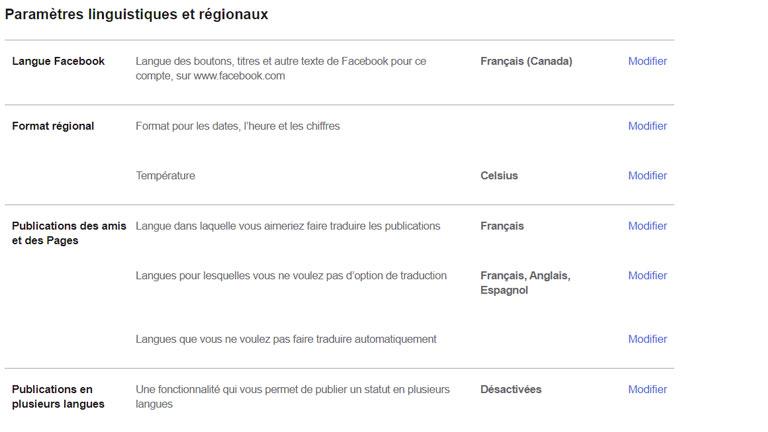 aperçu comment paramétrer langue facebook traduction publications ordinateur