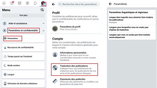 aperçu comment-parametrer langue facebook traduction publications cellulaire