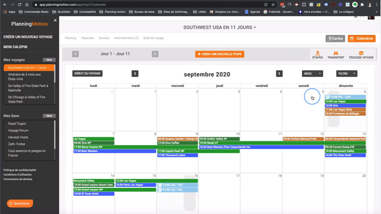 aperçu interface intuitive planning motion planification gestion voyage