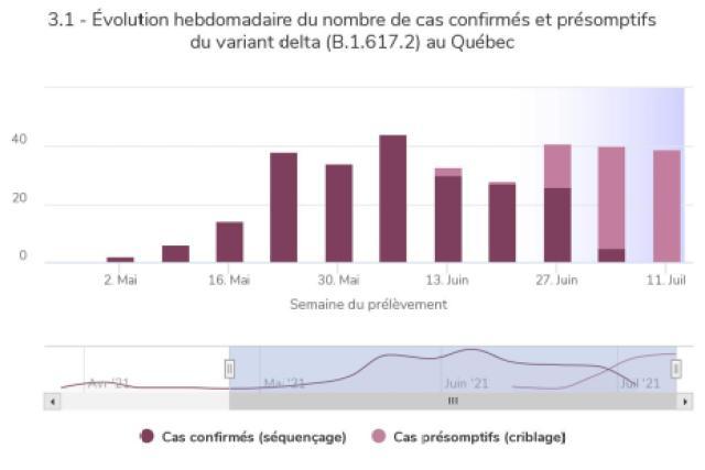 Le variant delta représente une part sans cesse grandissante des nouveaux cas de COVID-19 au Québec