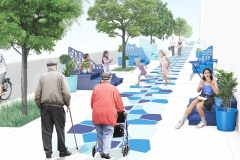 Les Balcons bleus de Tétreaultville : un nouveau mobilier urbain pour la rue Hochelaga