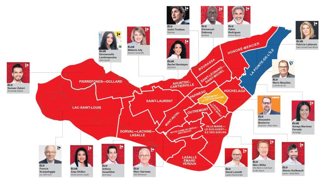Carte des résultats des élections fédérales 2021 sur l'île de Montréal.