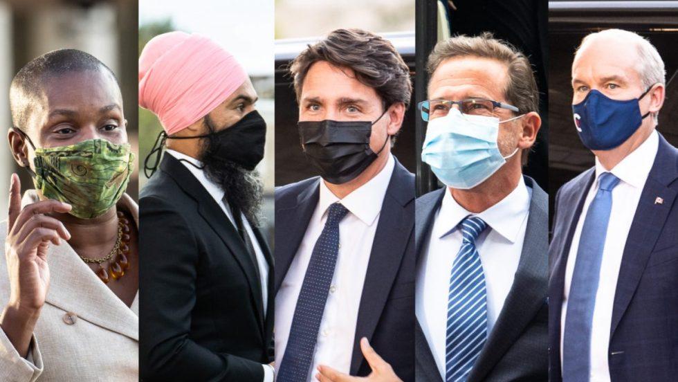 Jagmeet Singh, Annamie Paul, Yves-François Blanchet, Justin Trudeau et Erin O'Toole à leur arrivée au débat des chefs lors des élections fédérales 2021.