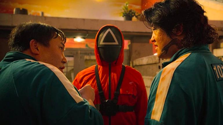 Trois personnages de la série Netflix «Squid Game»